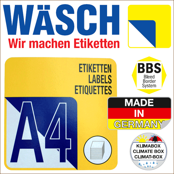 Box(en) a 500 Blatt  70 x 33,8 mm Etiketten Wäsch selbstklebend A4