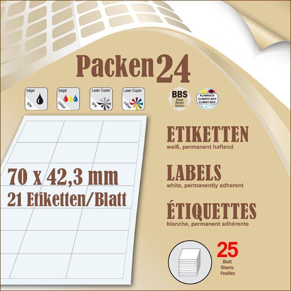 Schachtel(n) a 25 Blatt 70 x 42,4 mm Etiketten Packen24 selbstklebend A4