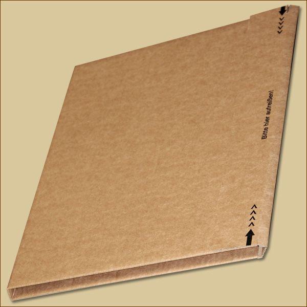 Faltschachtel 320 x 320 x 17 mm Buchverpackung Haftklebung Aufreißfaden