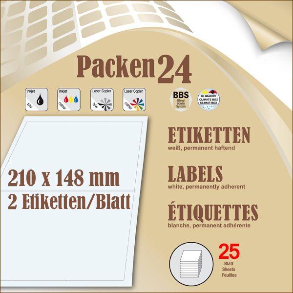 Schachtel(n) a 25 Blatt 210 x 148,4 mm Etiketten Packen24 selbstklebend A4