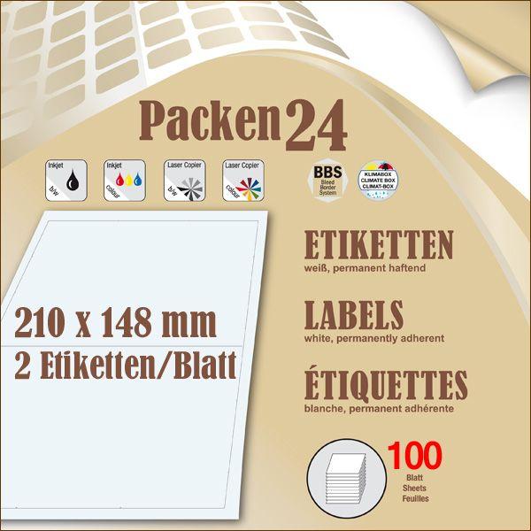 Schachtel(n) a 100 Blatt 210 x 148,2 mm Etiketten Packen24 selbstklebend A4