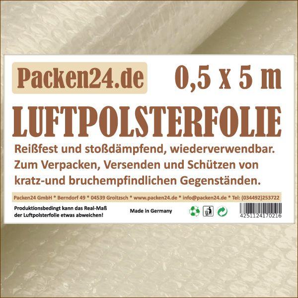 Luftpolsterfolie Kleinrollen 50 cm x 5 m P24 Noppenfolie Blasenfolie
