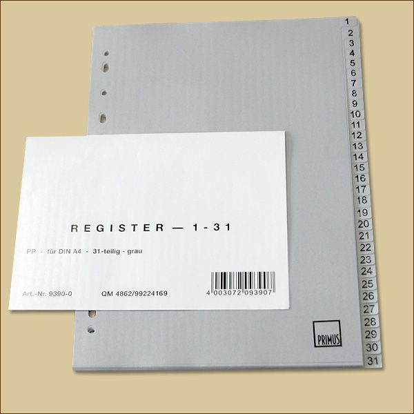 Register 1-31 volle Höhe, 31-teilig