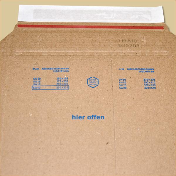 Versandtaschen 250 x 353 mm DIN A4 200 Wellpapp