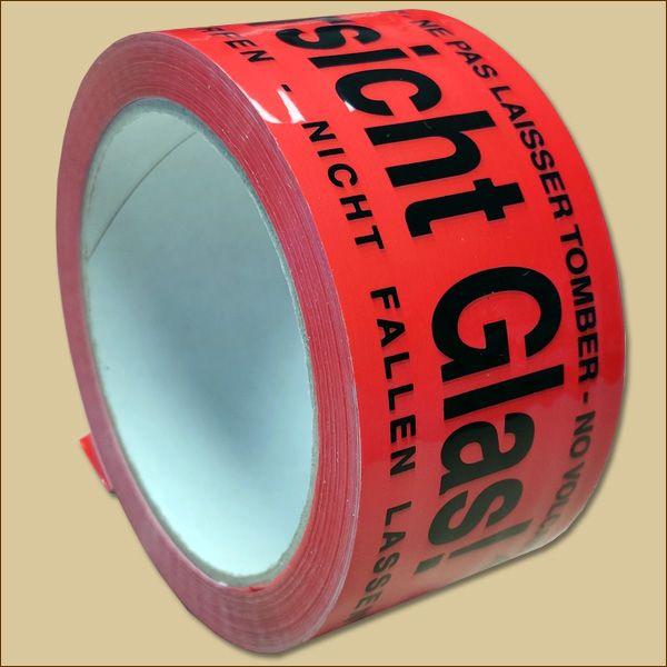 Klebeband Rollen 50 mm x 66 m Warnband Vorsicht Glas Leise Packband