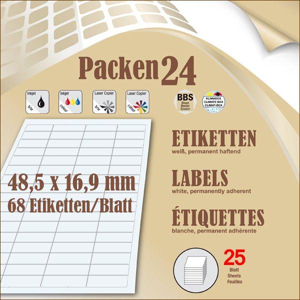 Schachtel(n) a 25 Blatt 48,5 x 16,9 mm Etiketten Packen24 selbstklebend A4