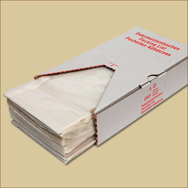Lieferscheintaschen DIN lang NEUTRAL Spendekarton Dokumententaschen