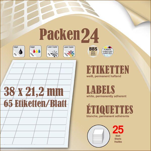 Schachtel(n) a 25 Blatt 38 x 21,2 mm Etiketten Packen24 selbstklebend A4