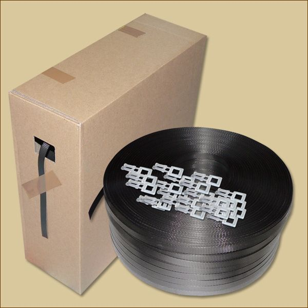 Umreifungsset 1000 m PP-Band schwarz / 200 KU-Schnallen