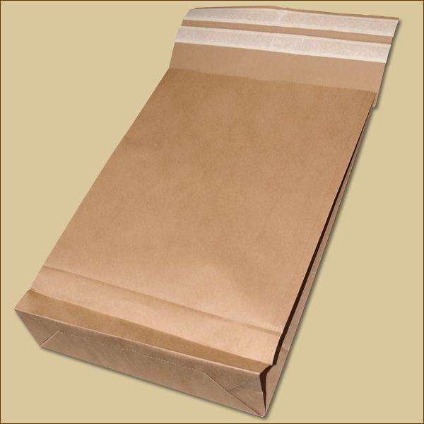 Versandbeutel Kraftpapier 300 x 80 x 430 + 110 mm Aufreißstreifen