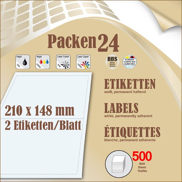 Box(en) a 500 Blatt 210 x 148,4 mm Etiketten Packen24 selbstklebend A4