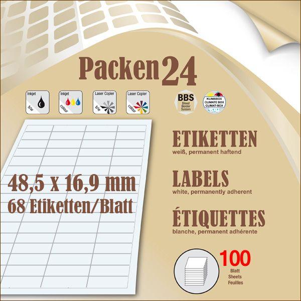 Schachtel(n) a 100 Blatt 48,5 x 16,9 mm Etiketten Packen24 selbstklebend A4