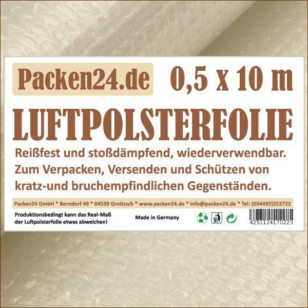 Luftpolsterfolie Kleinrollen 50 cm x 10 m P24 Noppenfolie Blasenfolie