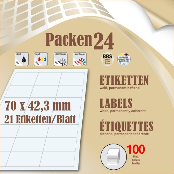 Schachtel(n) a 100 Blatt 70 x 42,4 mm Etiketten Packen24 selbstklebend A4