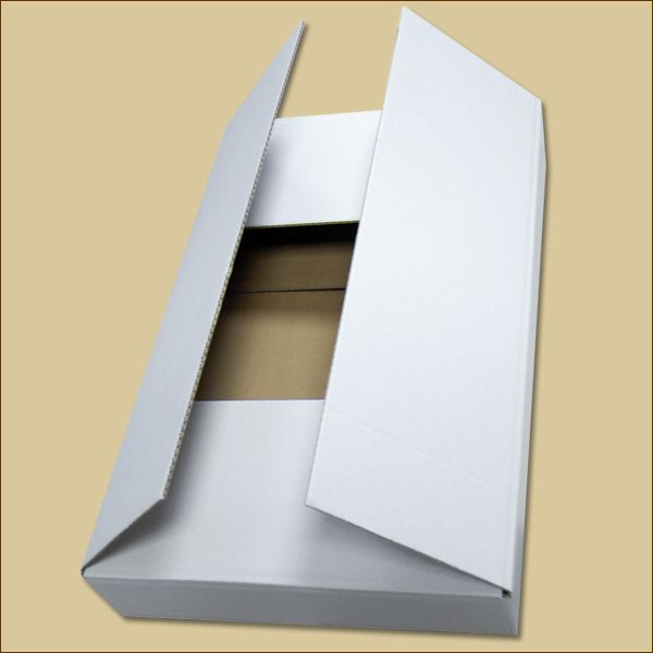 Faltkarton 520 x 322 x 75 mm Versandkarton einwellig weiß