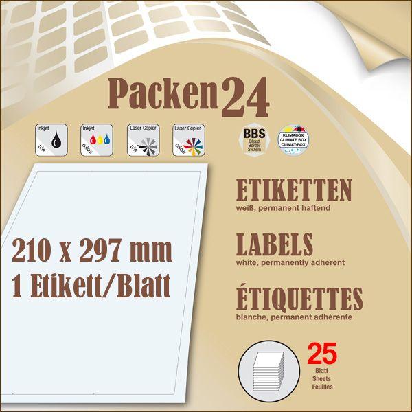 Schachtel(n) a 25 Blatt 210 x 297 mm Etiketten Packen24 selbstklebend A4