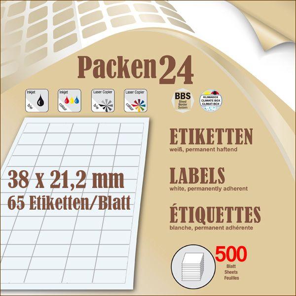 Box(en) a 500 Blatt 38 x 21,2 mm Etiketten Packen24 selbstklebend A4