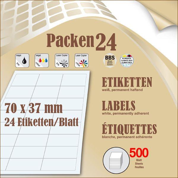 Box(en) a 500 Blatt  70 x 37 mm Etiketten Packen24 selbstklebend A4