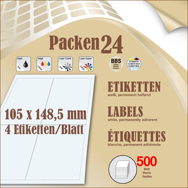 Box(en) a 500 Blatt 105 x148,5 mm Etiketten Packen24 selbstklebend A4