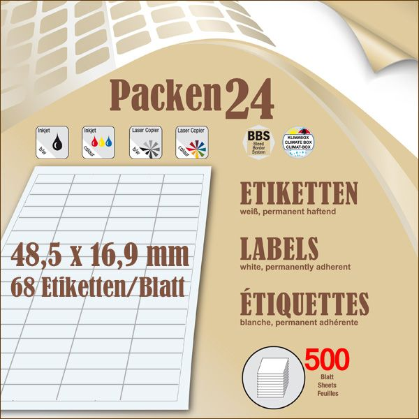 Box(en) a 500 Blatt 48,5 x 16,9 mm Etiketten Packen24 selbstklebend A4