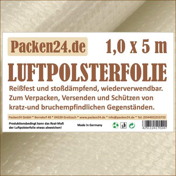 Luftpolsterfolie Kleinrollen 100 cm x 5 m P24 Noppenfolie Blasenfolie