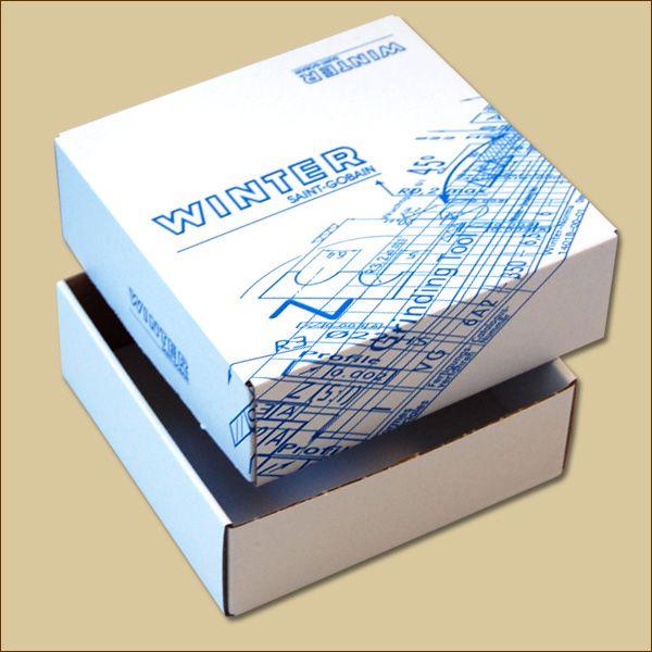 Faltschachtel 155 x 155 x 55 mm Versandschachtel einwellig zweiteilig bedruckt weiß