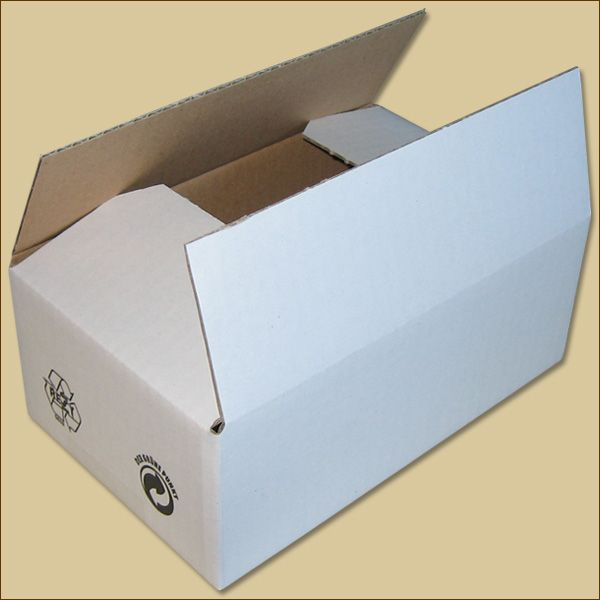 Faltkarton 195 x 120 x 70 mm Versandkarton einwellig weiß