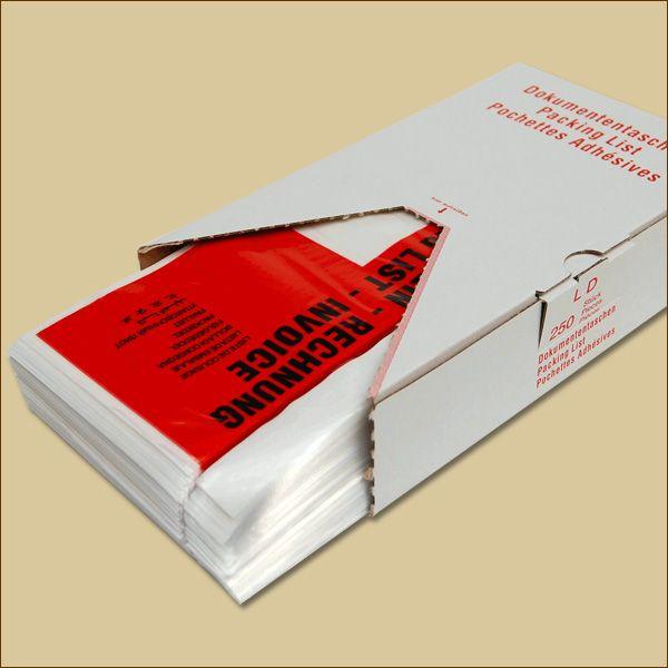 Lieferscheintaschen DIN lang Rechnung Spendekarton Dokumententaschen