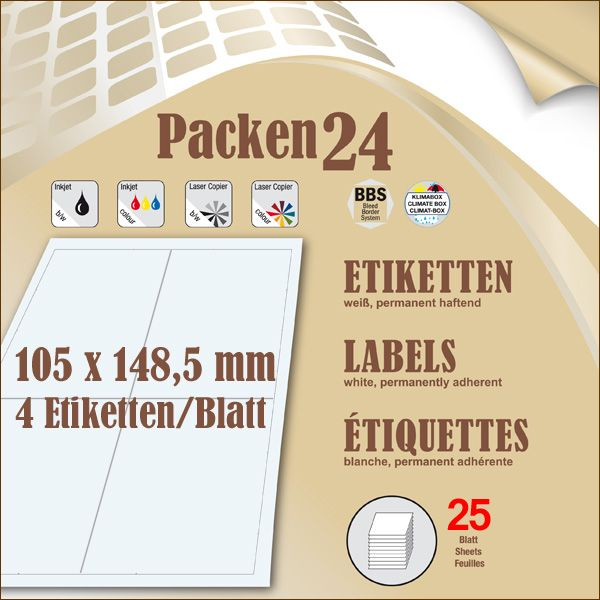Schachtel(n) a 25 Blatt 105 x148,4 mm Etiketten Packen24 selbstklebend A4