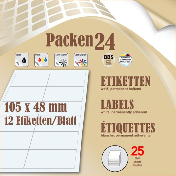 Schachtel(n) a 25 Blatt 105 x 48 mm Etiketten Packen24 selbstklebend A4